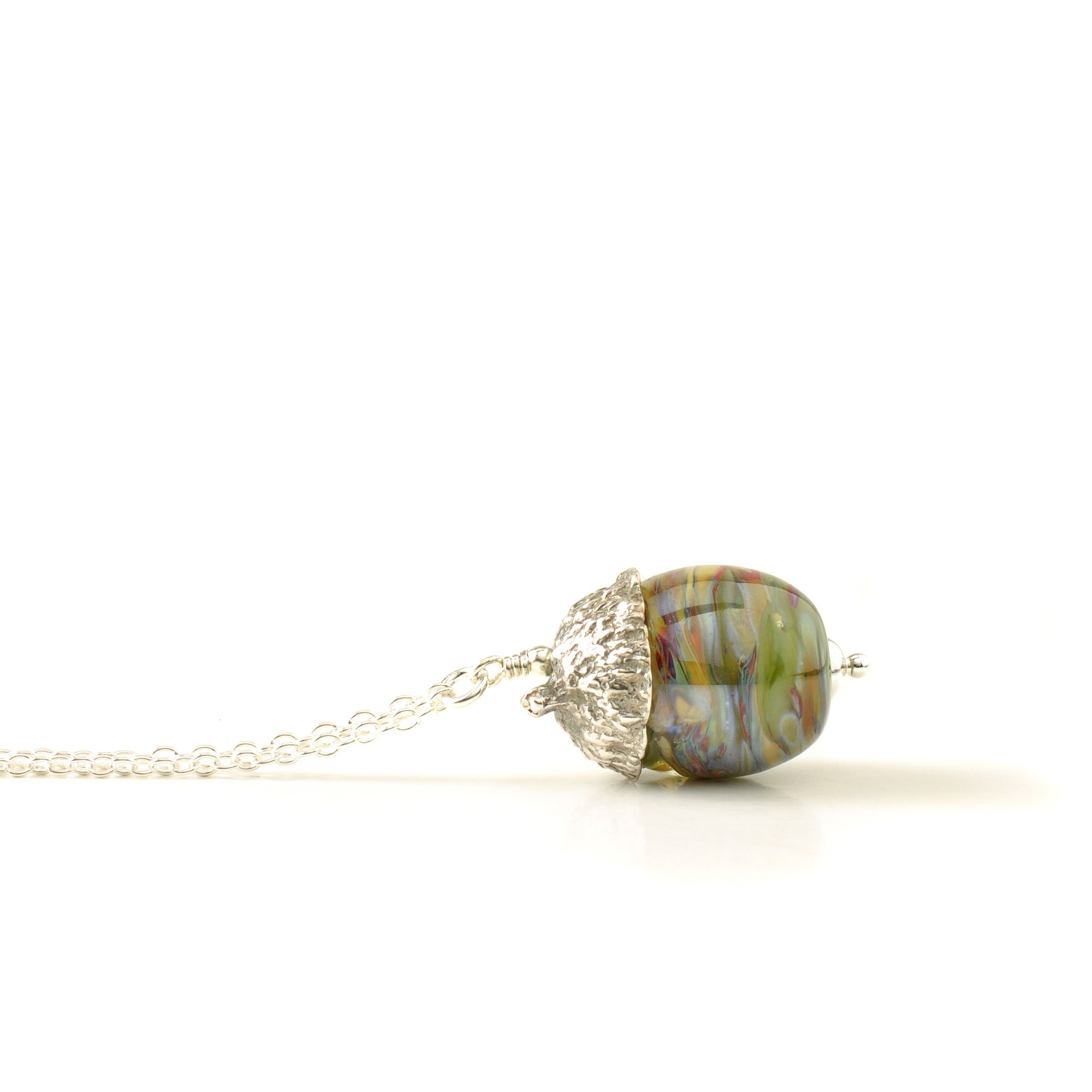 Handmade Glass and Silver Acorn Necklaces