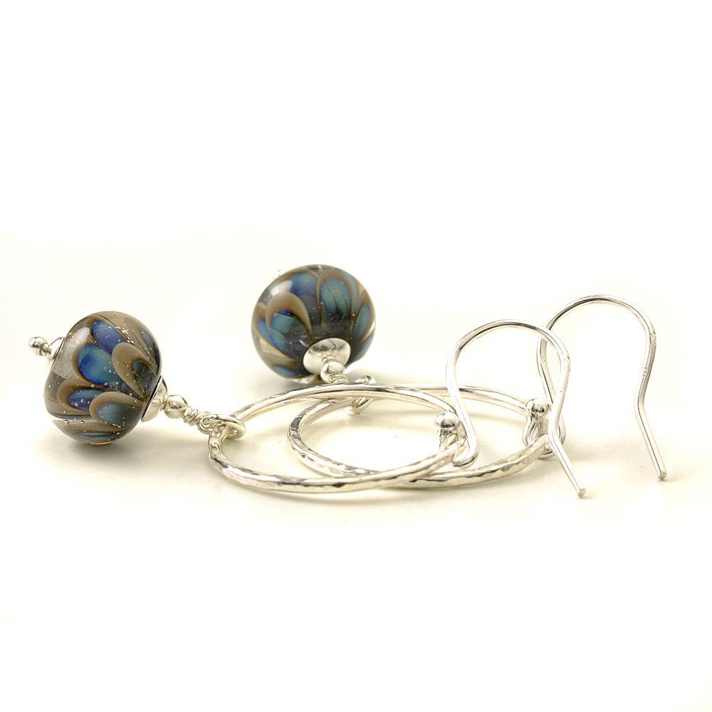 Grey and Blue Petal Drop and Silver Hoop Earrings