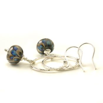 Grey and Blue Petal Drop and Silver Hoop Earrings