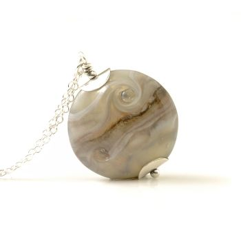 Pale Grey Lampwork Glass Pendant Necklace