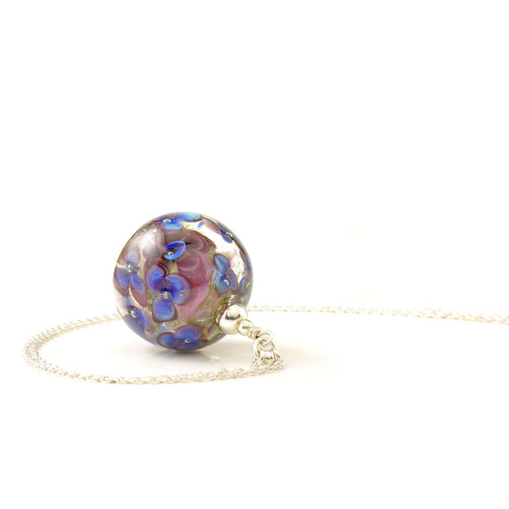 Violet Blue Long Glass Flower Necklace