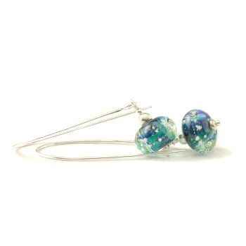 Silver and Deep Aqua Long Length Lampwork Glass Earrings