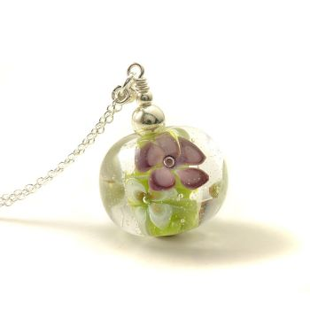 Long Glass Flower Necklace