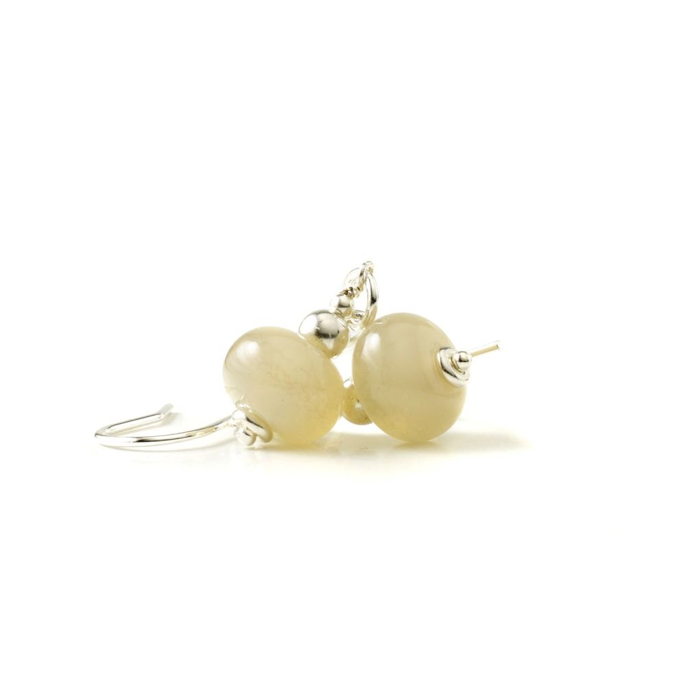 Pearly White Glass Earrings