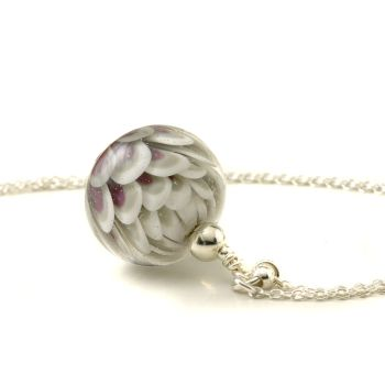 Violet Grey Long Glass and Sterling Silver Petal Necklace