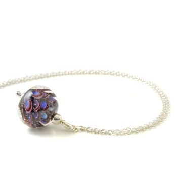Small Deep Violet Lampwork Glass Necklace