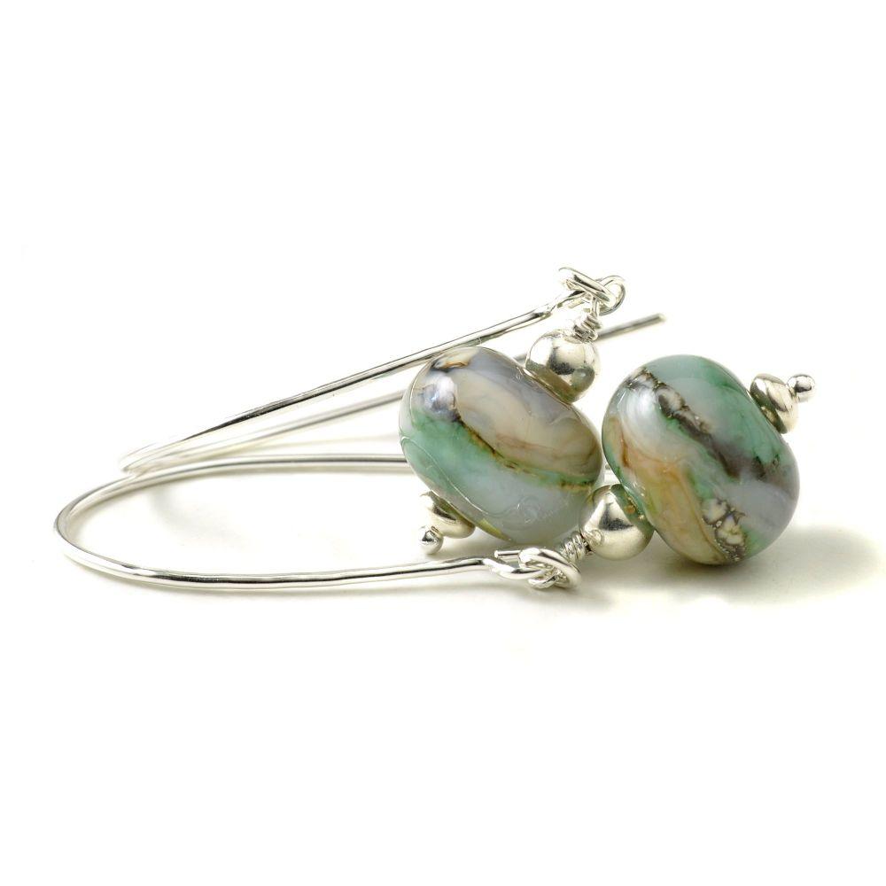 Patterned Green Long Hook Lampwork Glass Earrings