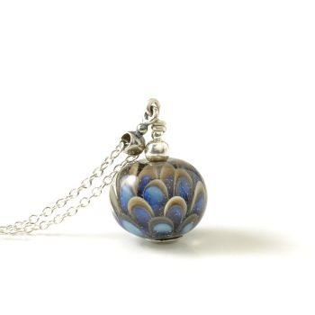 Small Blue Grey Lampwork Glass Petal Necklace