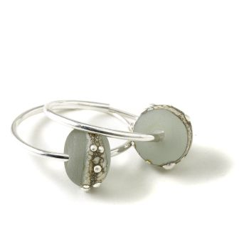 Grey Silvered Glass and Sterling Silver Hoop Earrings