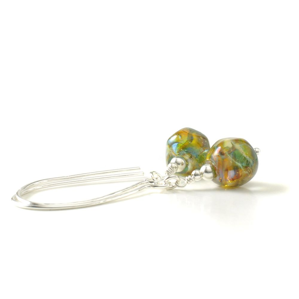 Long Hook Lampwork Glass Nugget Earrings