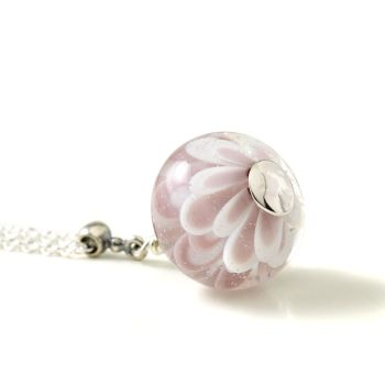 Pink Flower Lampwork Glass and Sterling Silver Necklace