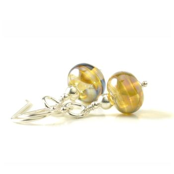 Liquid Gold Glass and Sterling Silver Earrings