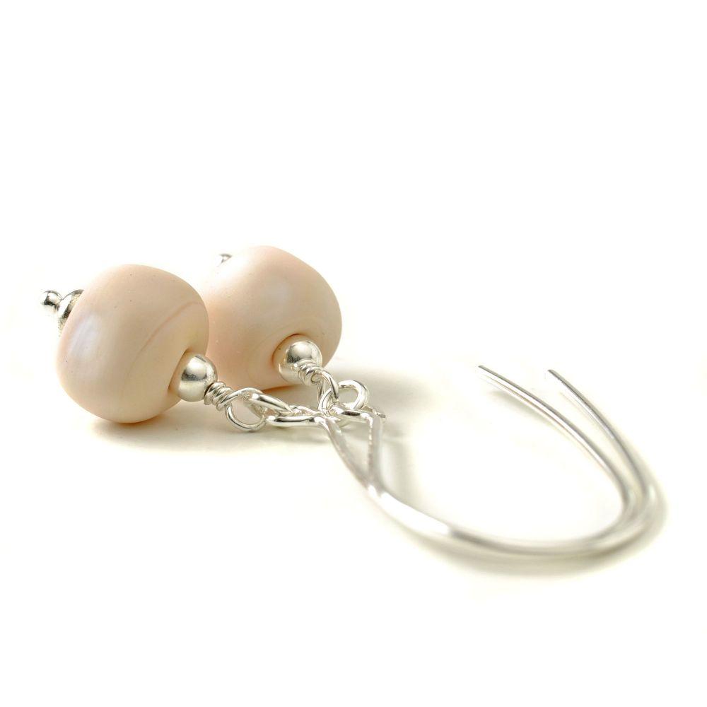 Pale Pebbles Long Hook Lampwork Glass Earrings