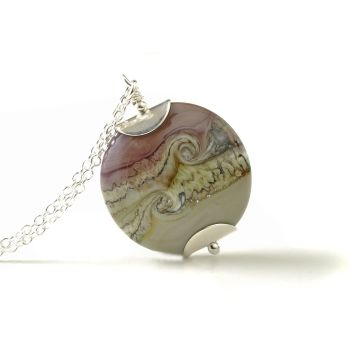 Heather and Clay Lampwork Glass Pendant Necklace