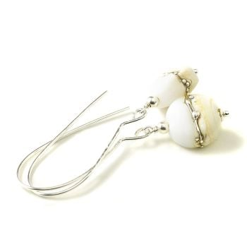 Maris Long Cream White and Silver Lampwork Glass Earrings