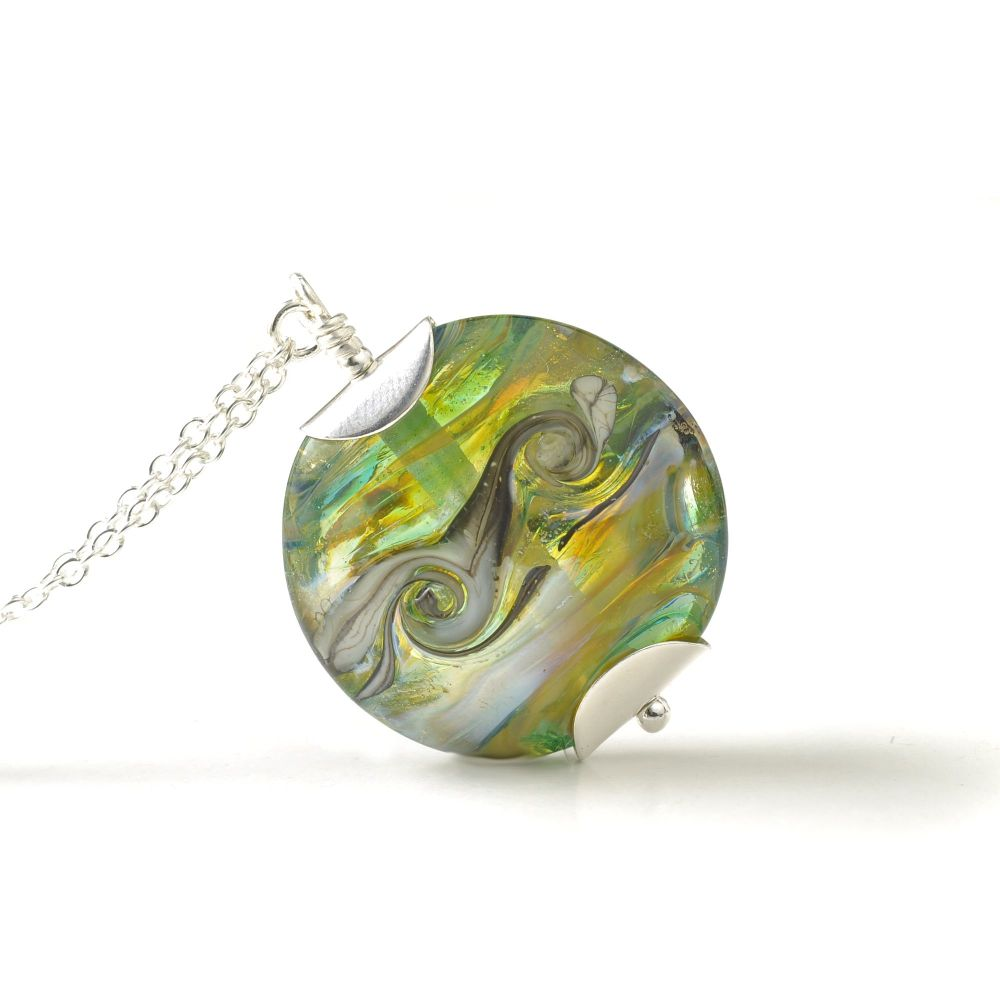 Tropical Green Lampwork Glass Pendant Necklace