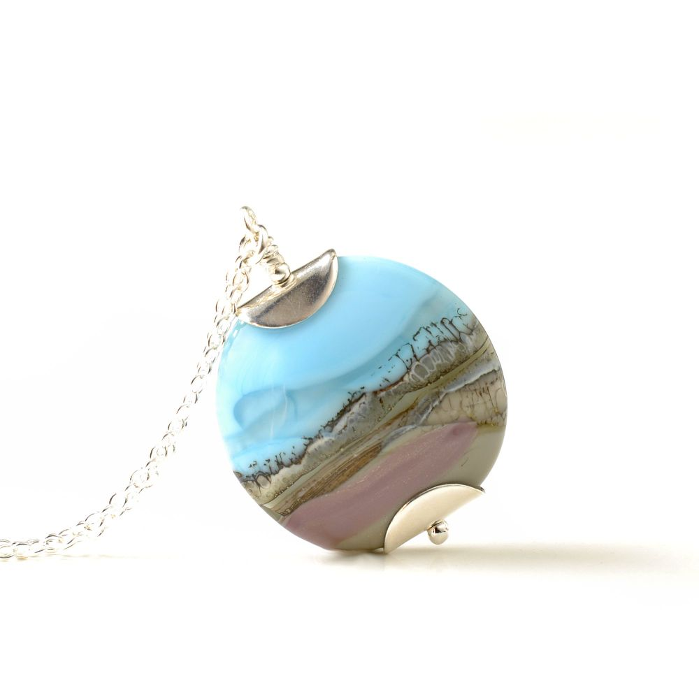 Blue Skies Lampwork Glass Pendant Necklace