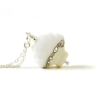 Maris Lampwork Glass Shell Necklace - White