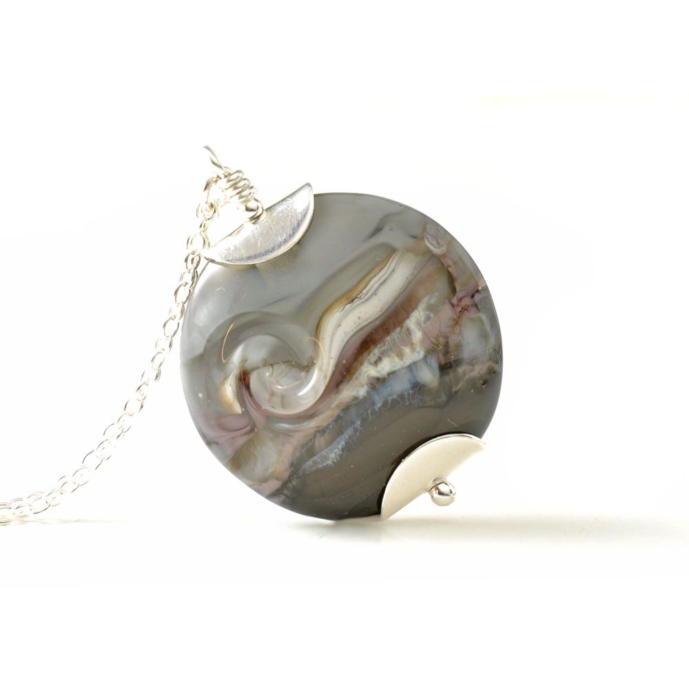Grey Violet Lampwork Glass Pendant Necklace