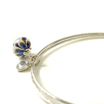 Blue and White Petal Sterling Silver Charm Bangles