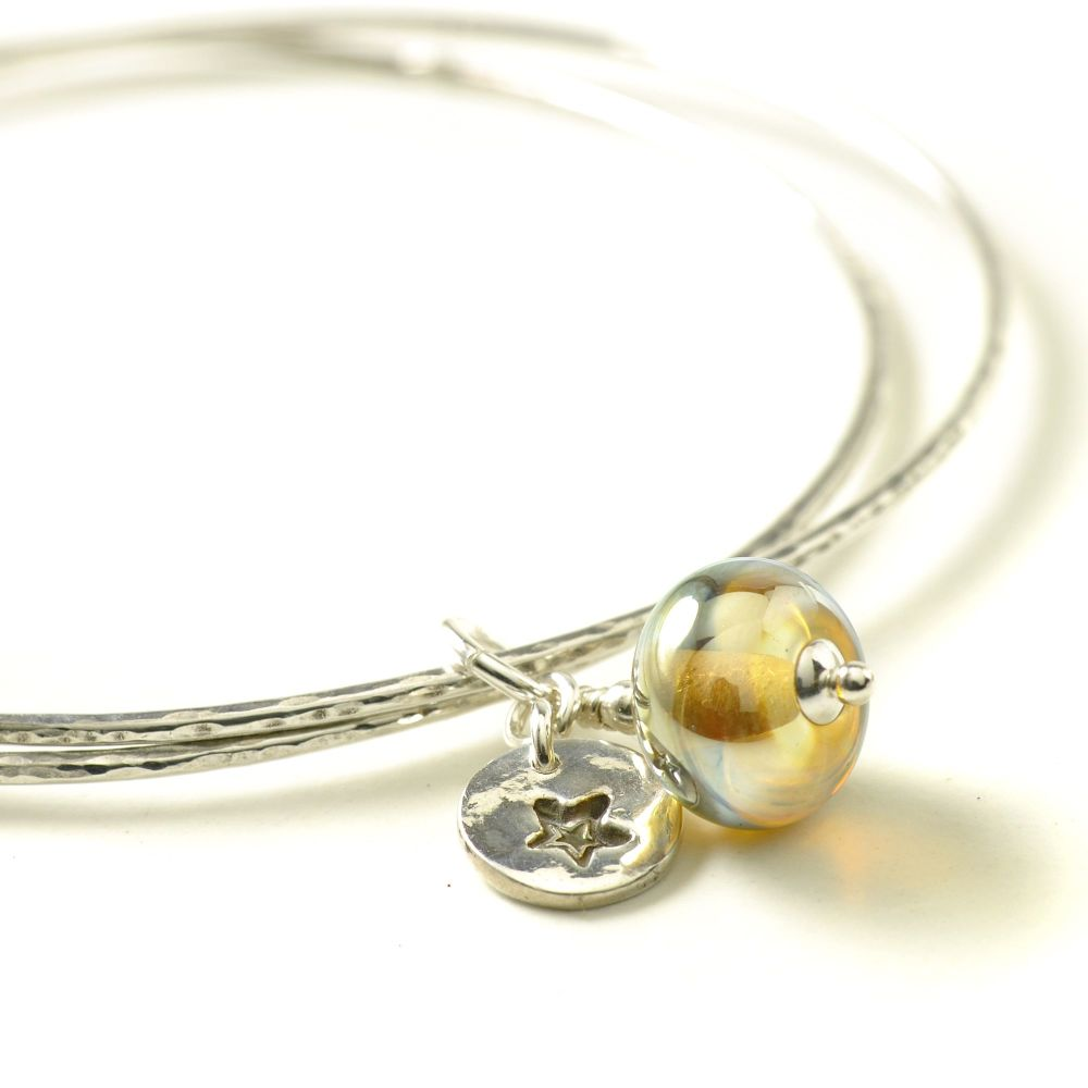 Golden Star Sterling Silver Charm Bangles
