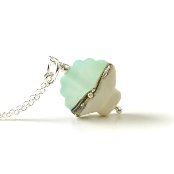 Maris Lampwork Glass Shell Necklace - Aqua Green