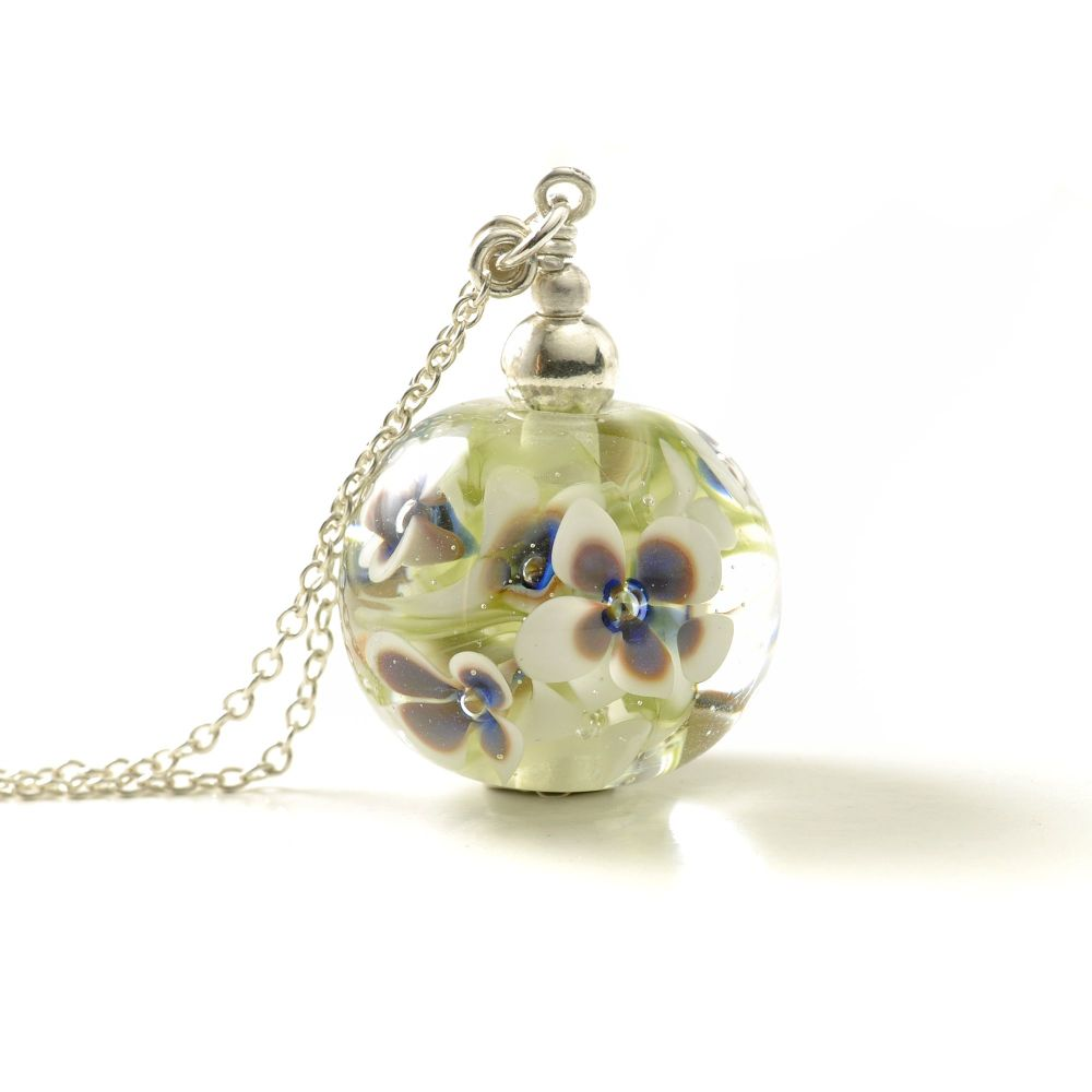 White and Blue Long Glass Flower Necklace