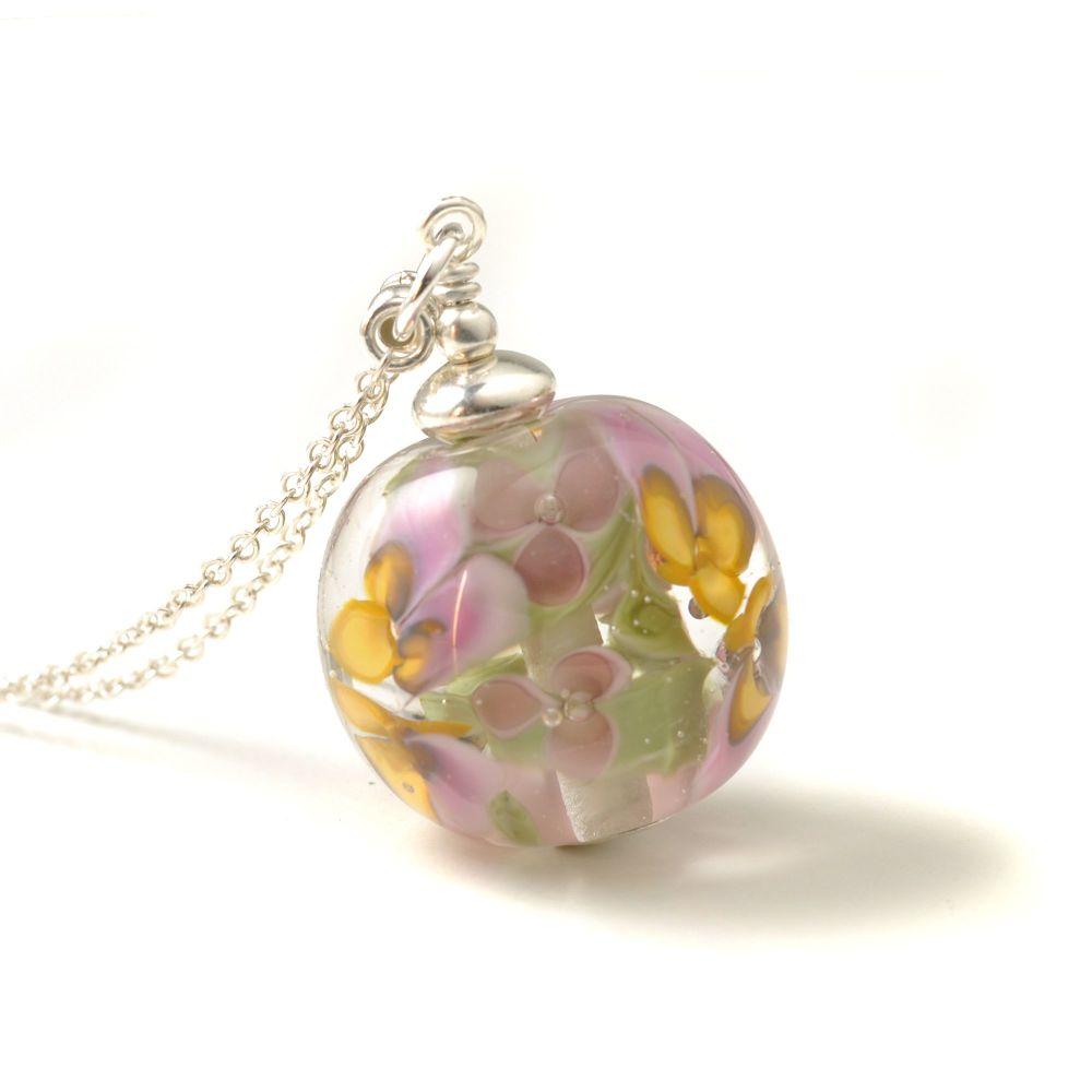 Pink Violet Long Glass Flower Necklace