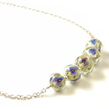 White and Blue Little Glass Flower Necklace
