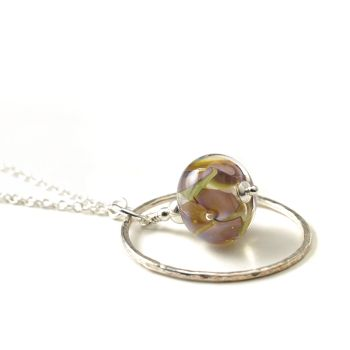 Lampwork Glass Flower and Silver Hoop Necklace