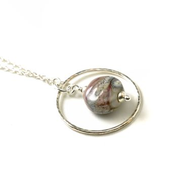 Lampwork Glass and Silver Hoop Necklace