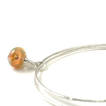 Apricot Flower Sterling Silver Charm Bangles