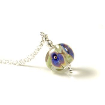 Mini White and Blue Glass Flower Necklace