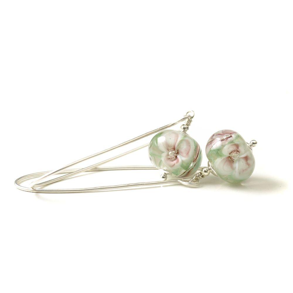 Long Flowers Sterling Silver Lampwork Glass Earrings