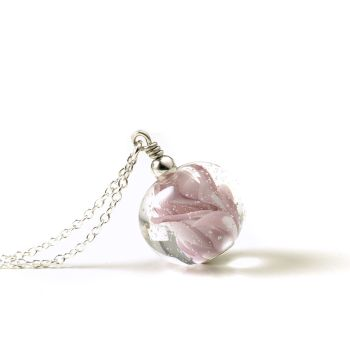 Pink Swirl Lampwork Glass and Sterling Silver Necklace