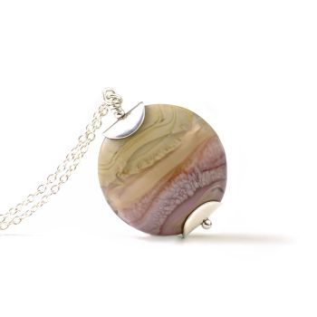 Heather and Heath Lampwork Glass Pendant Necklace