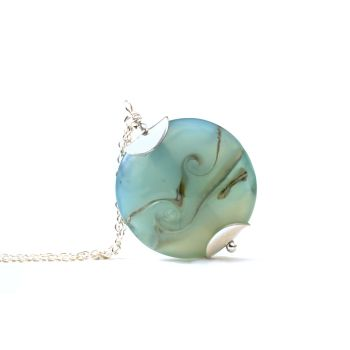 Opaque Aqua Lampwork Glass Pendant Necklace