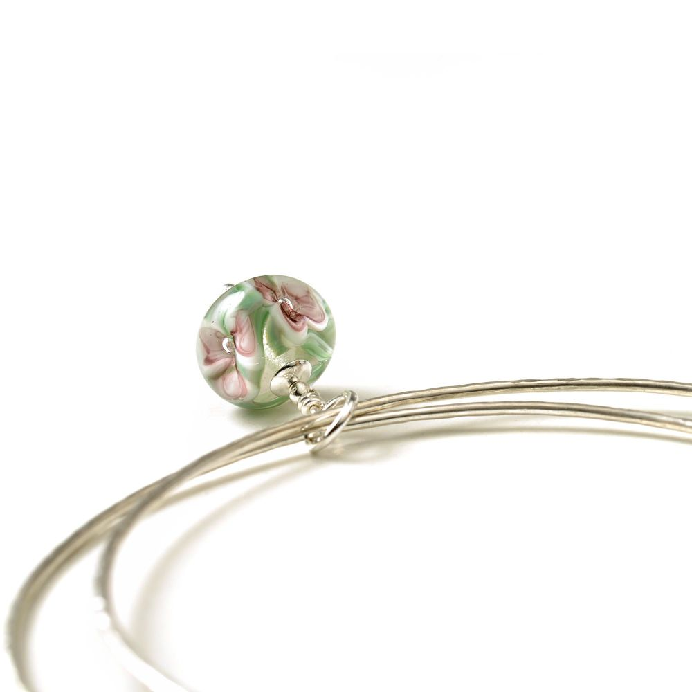 Pink Flower Sterling Silver Charm Bangles