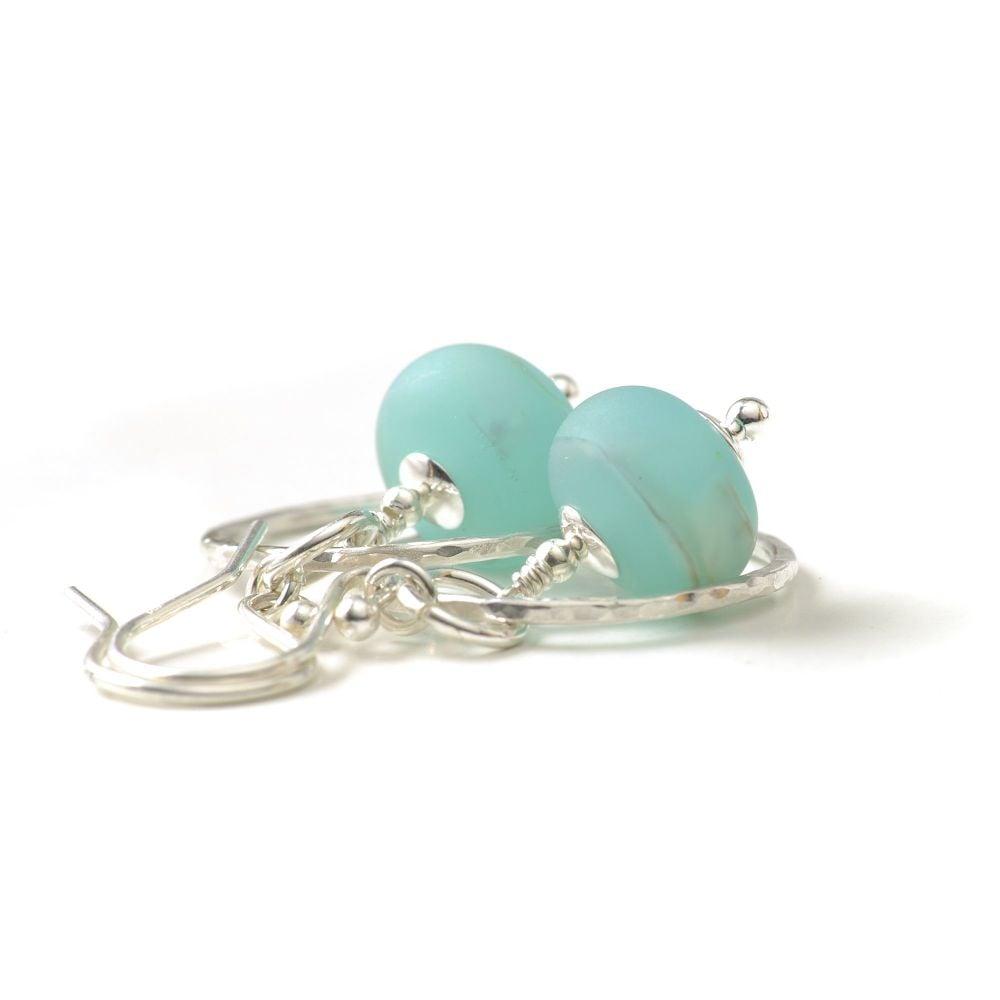 Silver and Sky Blue Lampwork Glass Hoop Earrings