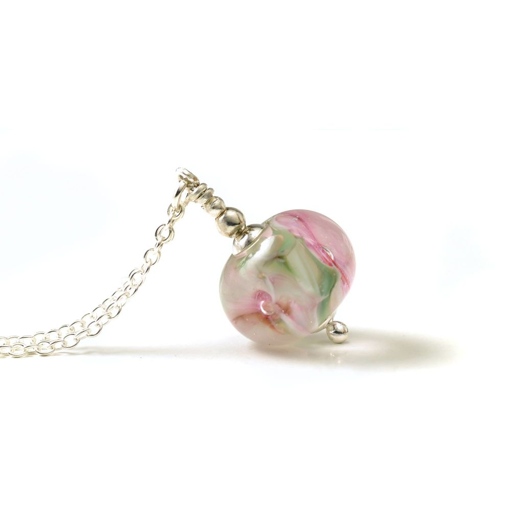 Mini White and Pink Glass Flower Necklace