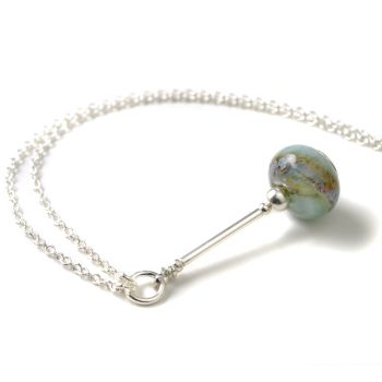 Blue and Silver Lampwork Glass Pendulum Necklace