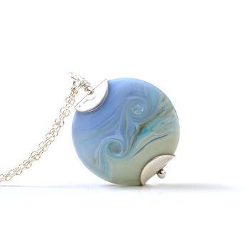 Tide Lampwork Glass Pendant Necklace