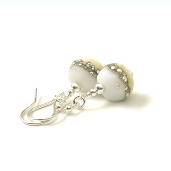 Silver and Ivory Lampwork Glass Nugget Earrings