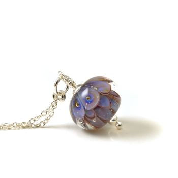 Lavender Lampwork Glass and Sterling Silver Necklace