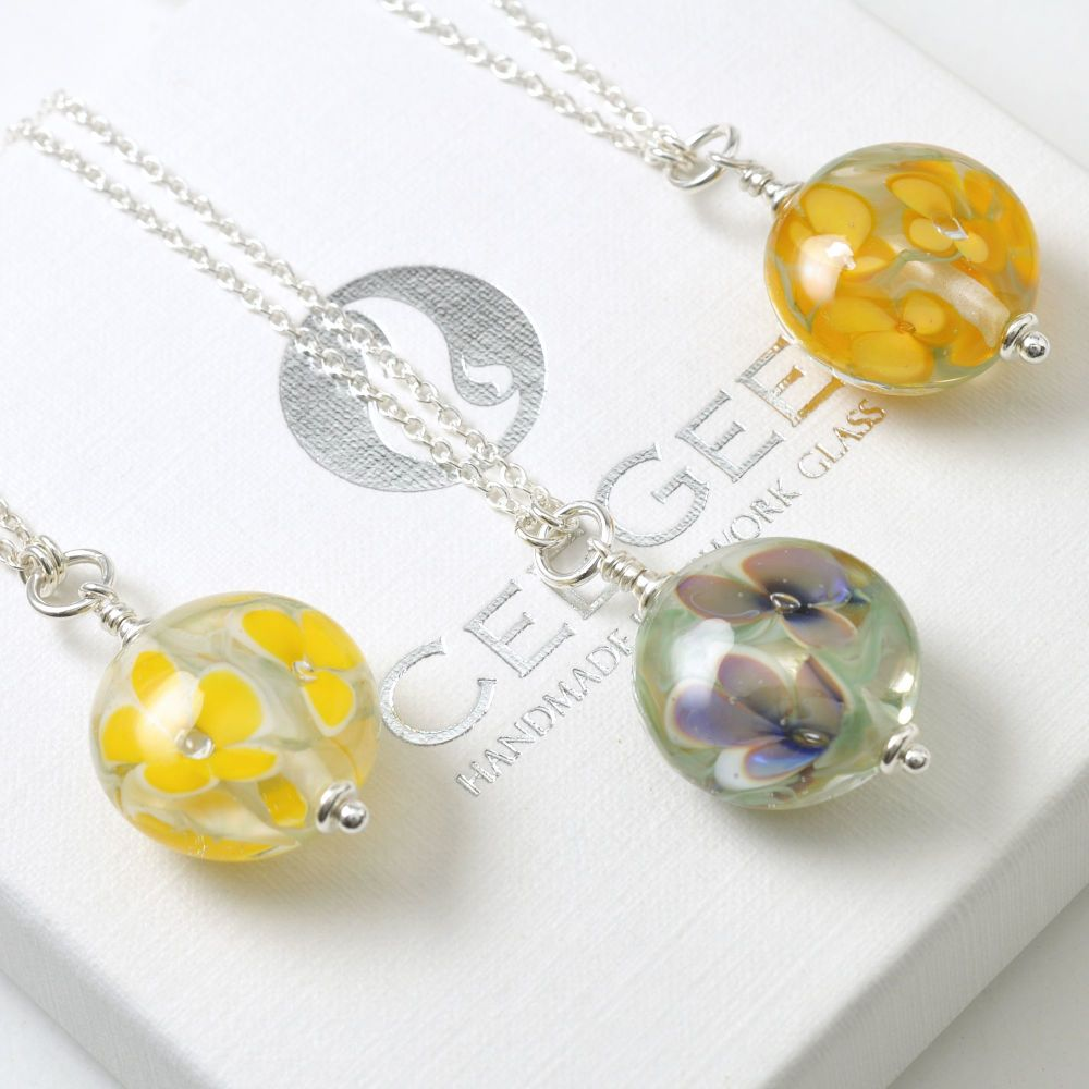 Pressed Floral Lampwork Glass and Sterling Silver Necklace