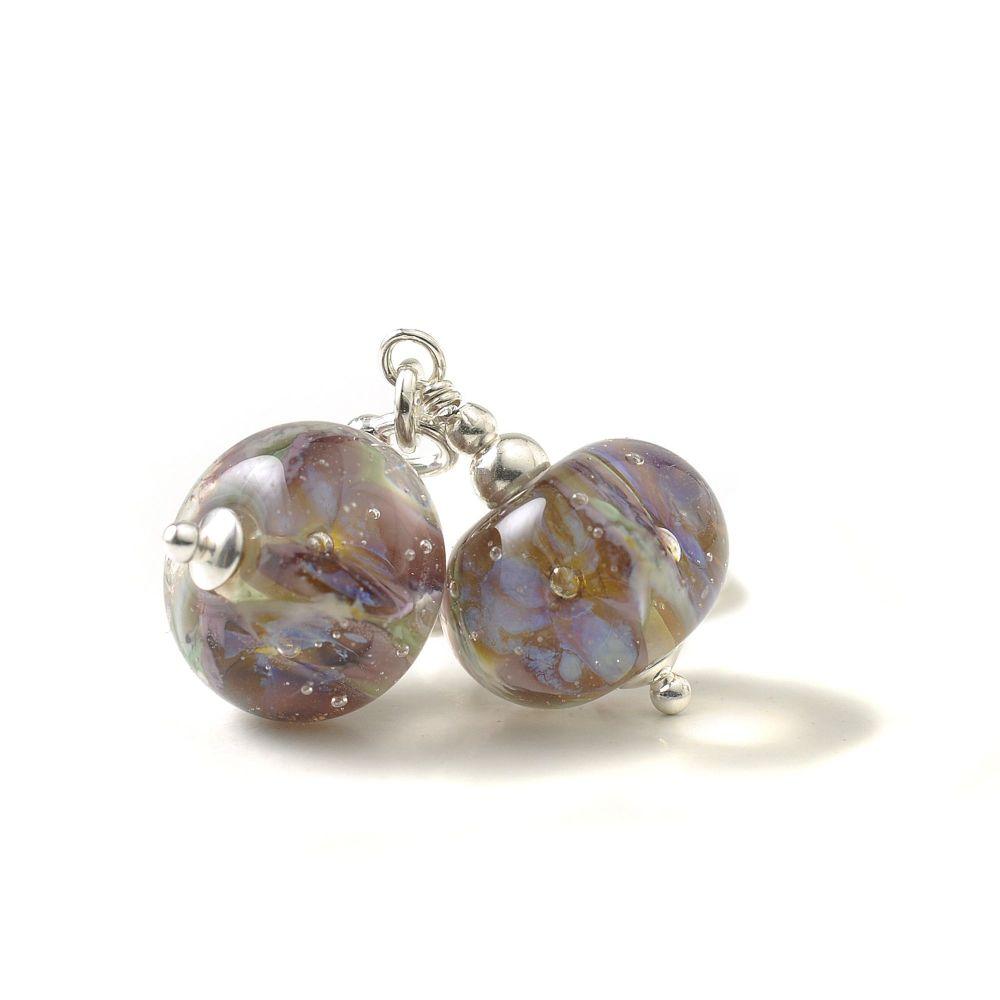 Purple Flowers Sterling Silver Lampwork Glass Earrings