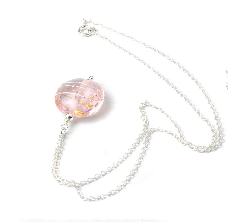Bespoke Simplicity Collection Pale Pink Lampwork Glass Necklace