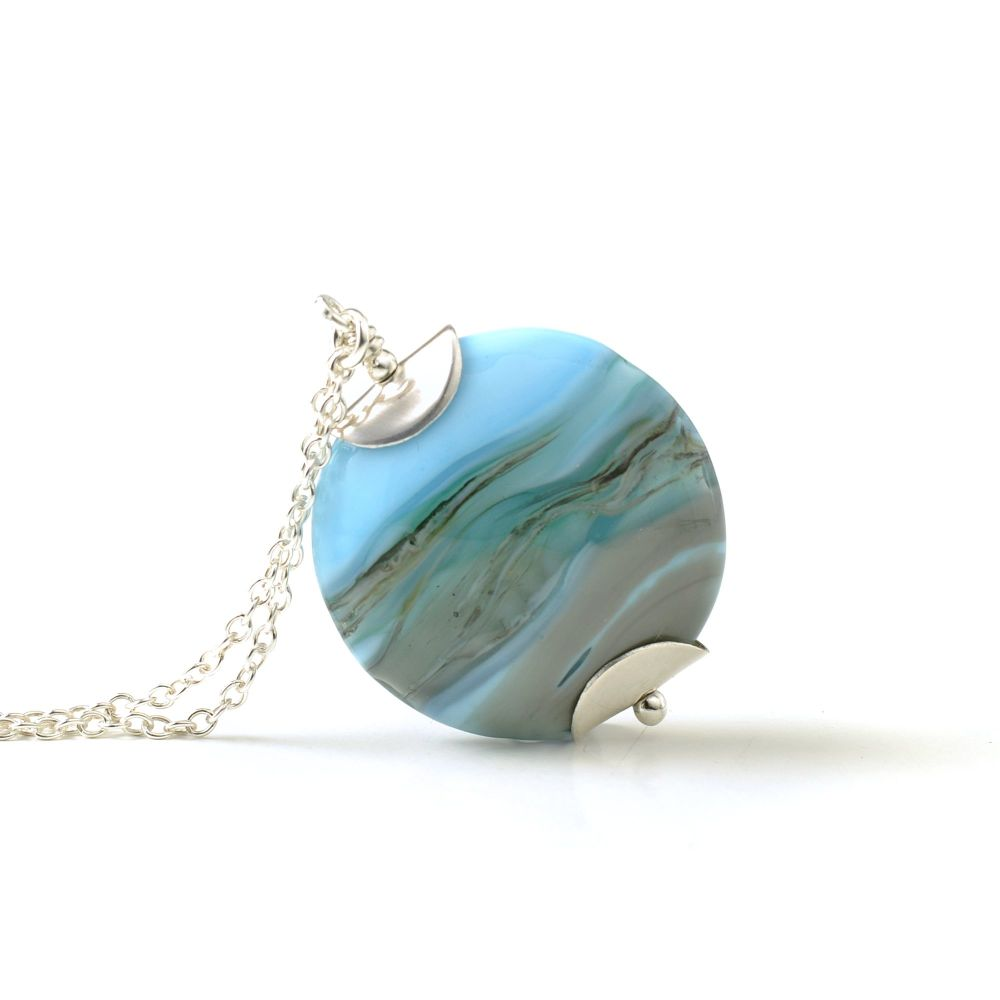 Landscape Lampwork Glass Pendant Necklace