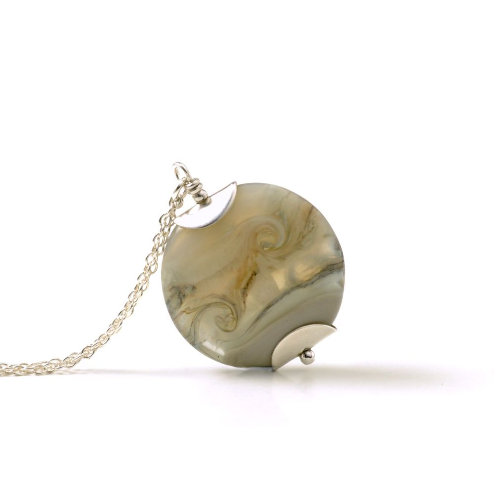 Opaque Grey Lampwork Glass Pendant Necklace