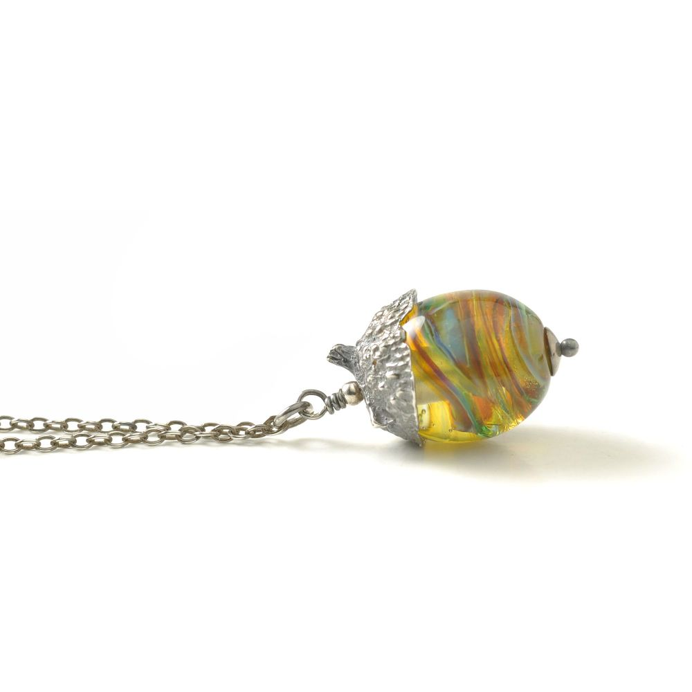 Acorn Necklace - Green Amber